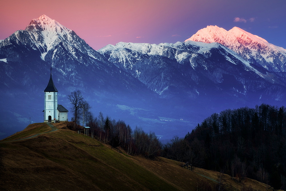 The Church of St Primoz, Jamnik at sunset, Slovenia, Europe