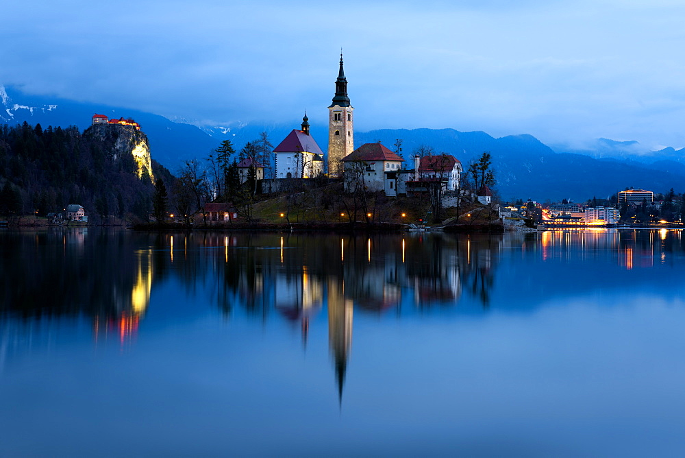 The Church of the Assumption pre-dawn, Lake Bled, Slovenia, Europe - 1216-271