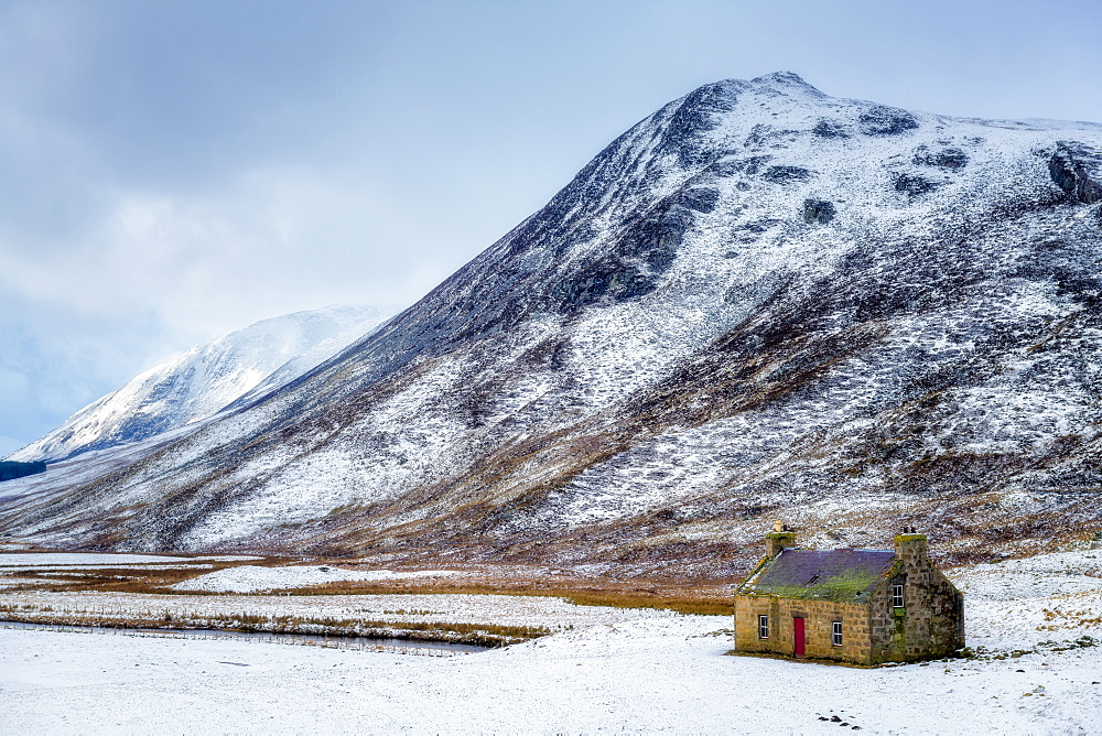 Abandoned croft in the snow, winter in the Cairngorms, Scotland, United Kingdom, Europe - 1216-284