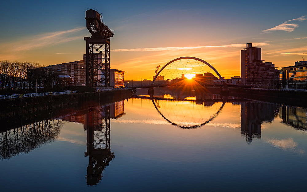 Sunrise at the Clyde Arc (Squinty Bridge), Pacific Quay, Glasgow, Scotland, United Kingdom, Europe