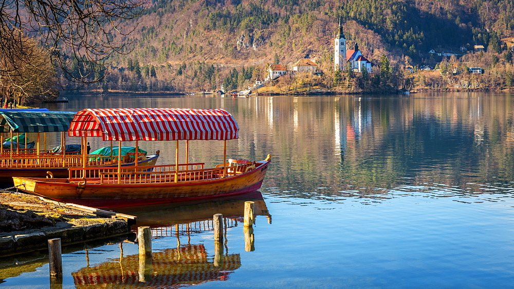 Lake Bled boats, Slovenia, Europe - 1216-292
