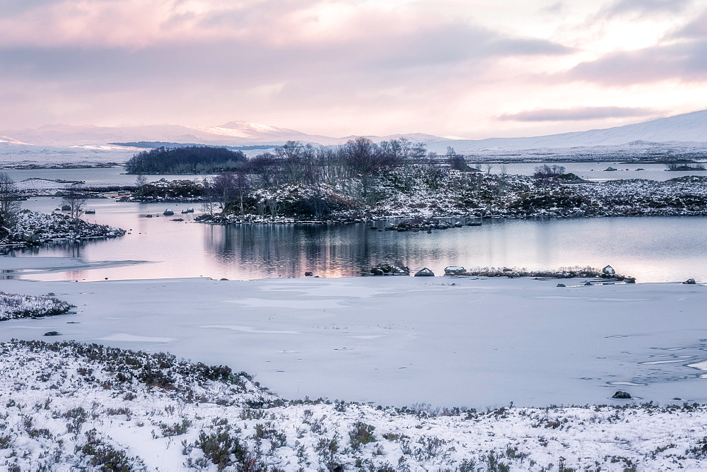 Loch Ba in winter snow at sunrise, Rannoch Moor, Highlands, Scotland, United Kingdom, Europe