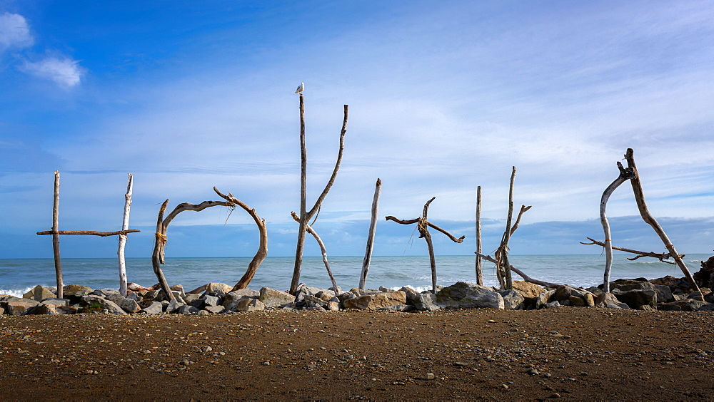 Hokitika coast and sign made of drift wood, Hokitika, West Coast of South Island, New Zealand, Pacific - 1216-306