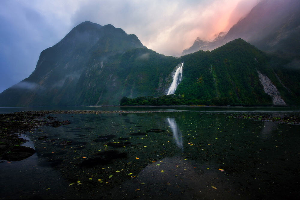 Lady Bowen Falls at sunrise, Milford Sound, Fiordland National Park, South Island, New Zealand, Pacific - 1216-314