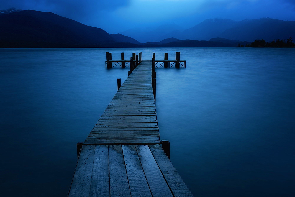 Te Anau Jetty at Blue Hour, Te Anau, South Island, New Zealand, Pacific - 1216-315