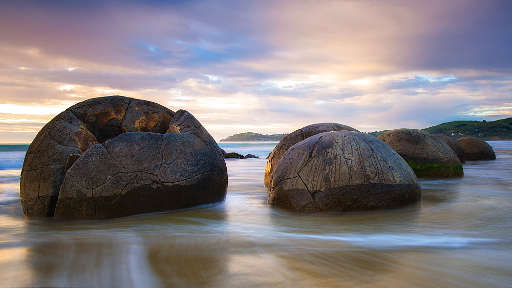 Moeraki Boulders at sunset, Koekohe Beach, Moeraki Peninsula, Otago, South Island, New Zealand, Pacific
