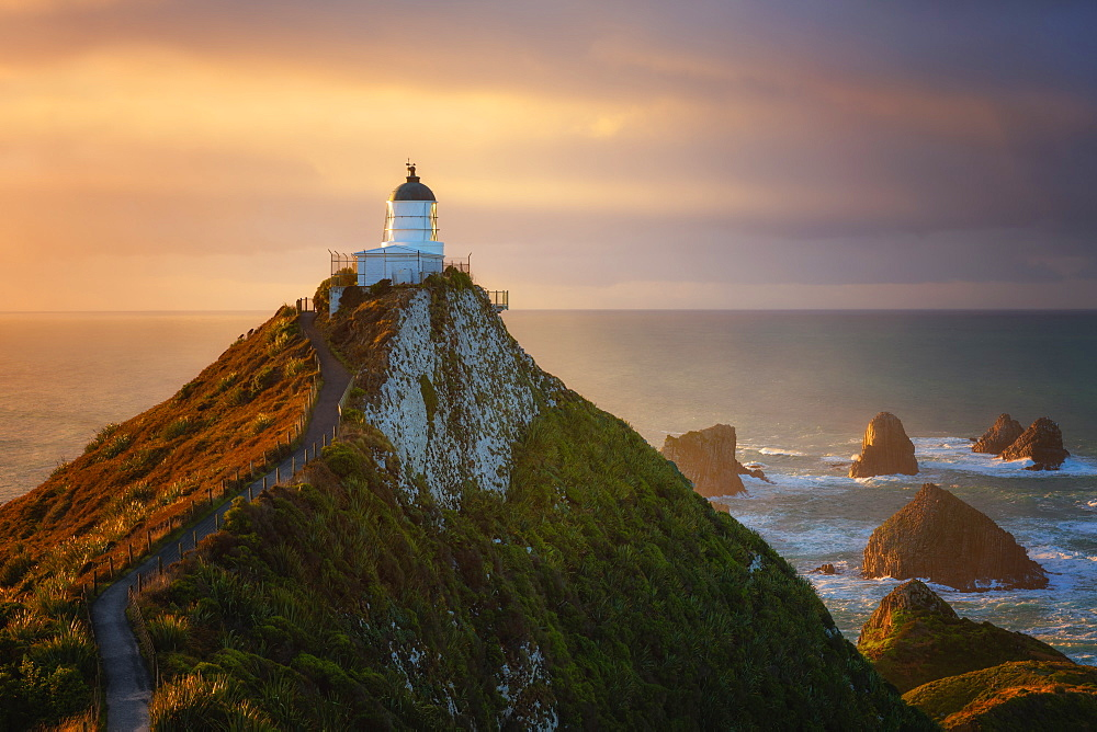 Nugget Point Lighthouse at sunrise, Nugget Point, Otago, South Island, New Zealand, Pacific - 1216-317