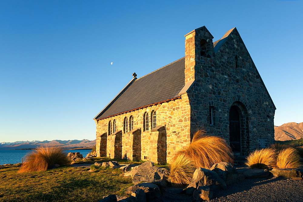 Church of the Good Shepherd at sunset, Lake Tekapo, Mackenzie Distrtict, Canterbury Region, South Island, New Zealand, Pacific