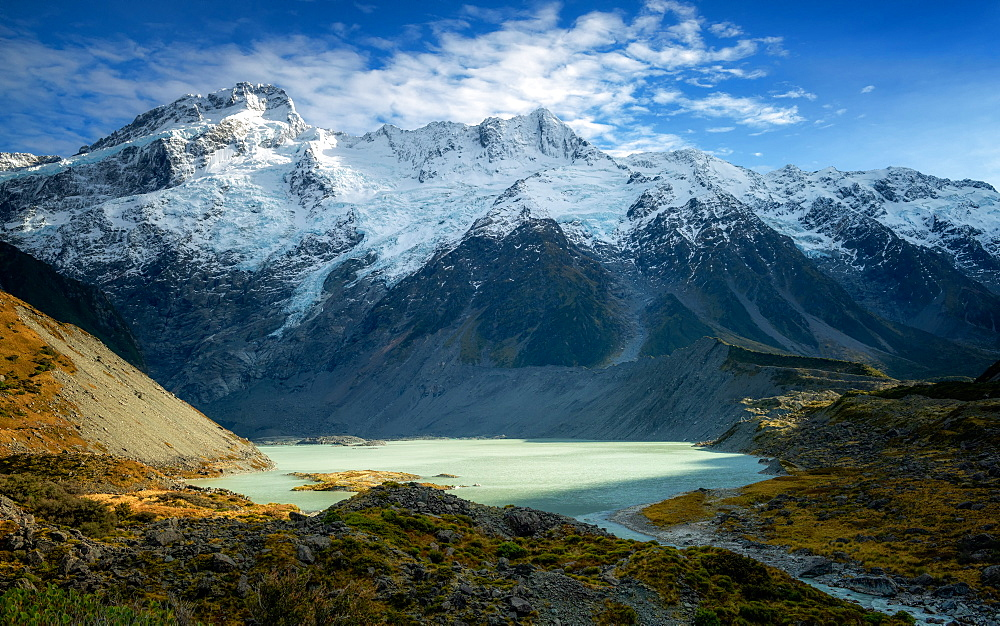 Mueller Glacier Lake, Aoraki (Mount Cook) National Park, UNESCO World Heritage Site, South Island, New Zealand, Pacific