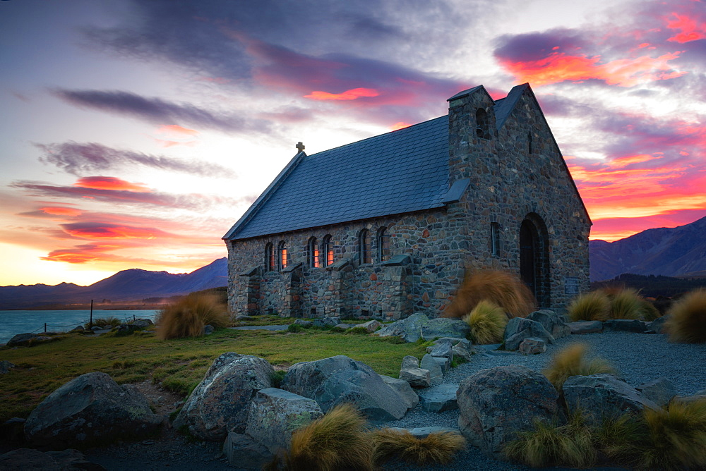 Church of the Good Shepherd at sunrise, Lake Tekapo, Mackenzie Distrtict, Canterbury Region, South Island, New Zealand, Pacific - 1216-326