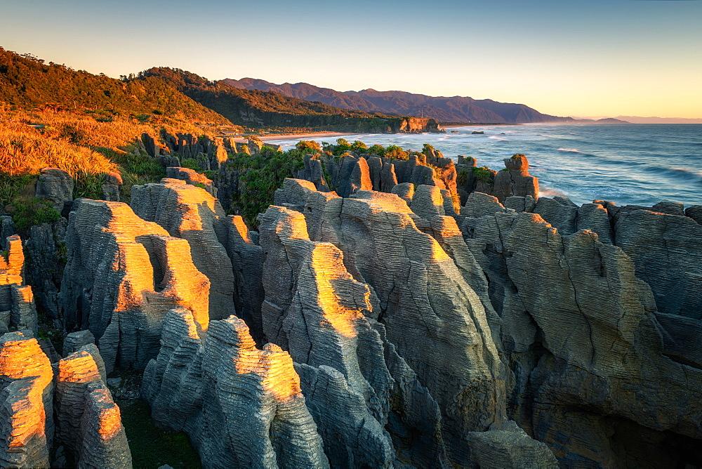 Pancake Rocks at sunset, Paparoa National Park, West Coast, South Island, New Zealand, Pacific