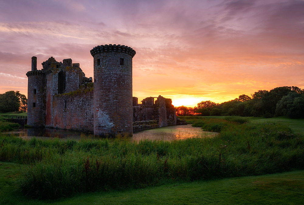 Caerlaverock Castle at sunset, Dumfries and Galloway, Scotland, United Kingdom, Europe - 1216-335