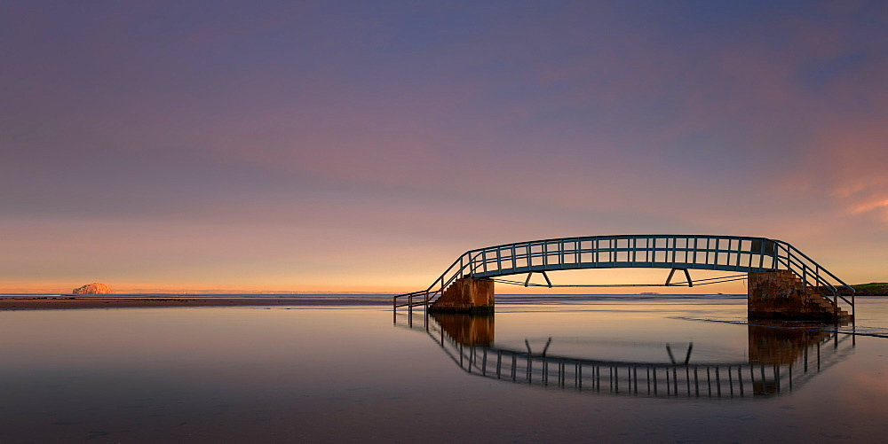 Bridge to Nowhere at sunrise, Belhaven Bay, Dunbar, East Lothian, Scotland, United Kingdom, Europe - 1216-353