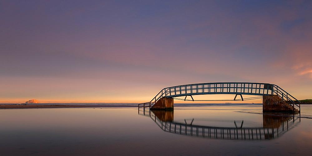 Bridge to Nowhere at sunrise, Belhaven Bay, Dunbar, East Lothian, Scotland, United Kingdom, Europe