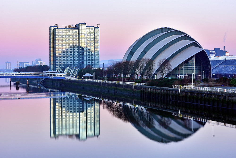 Sunrise at The Clyde Auditorium (the Armadillo), Glasgow, Scotland, United Kingdom, Europe