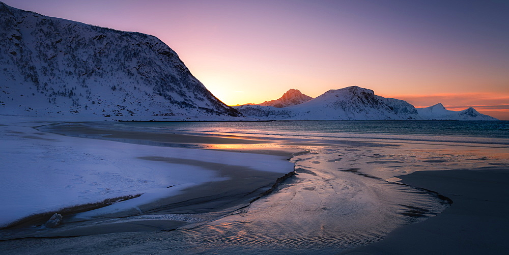Snow covered Haukland Beach at sunset, Lofoten, Nordland, Norway, Europe - 1216-392