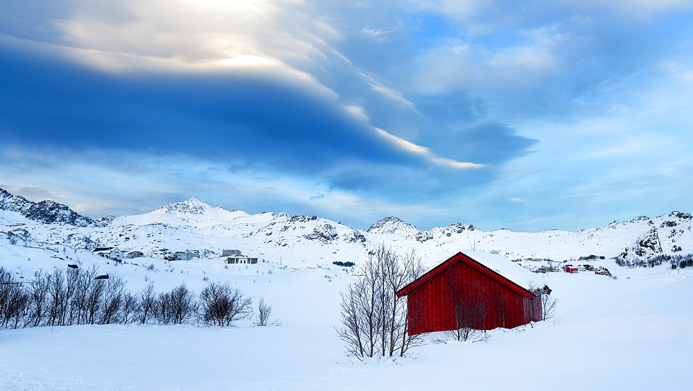 Red Cabin in the Snow, Lofoten Islands, Nordland, Norway, Europe