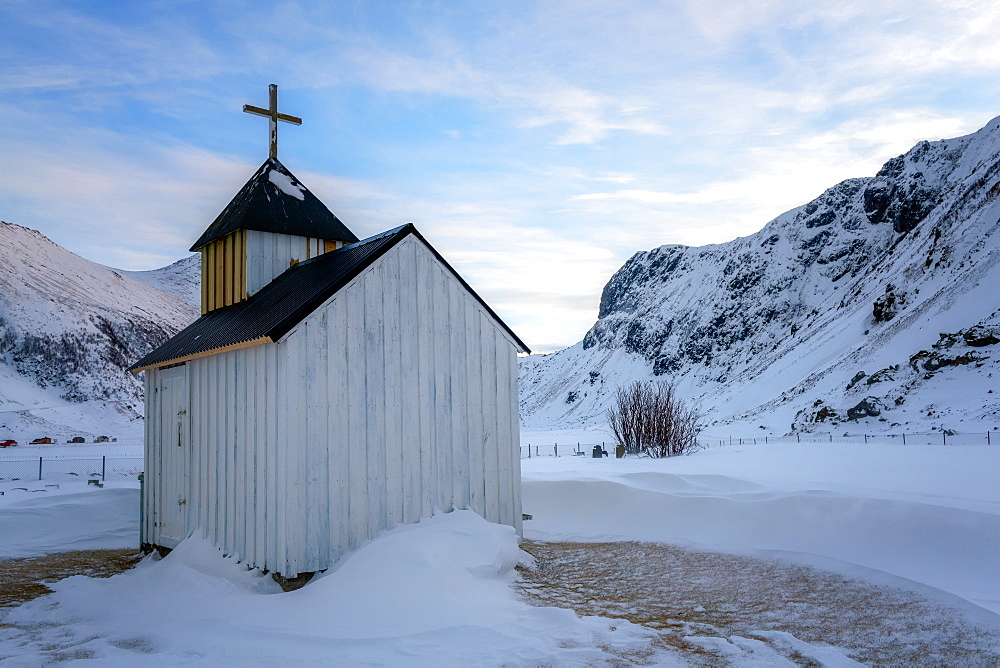 The Little White Church, Unstad Beach, Lofoten Islands, Nordland, Norway, Europe