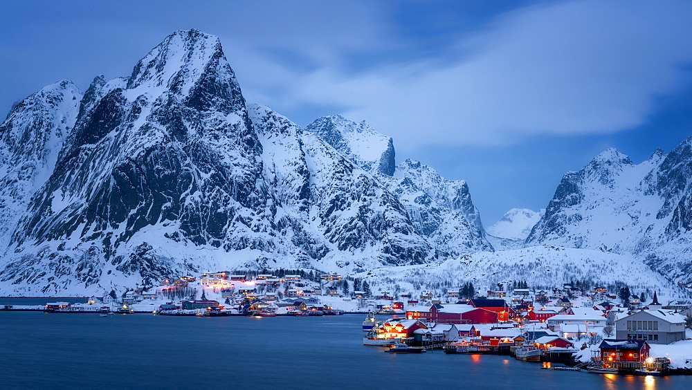 Reine at dusk, Lofoten Islands, Nordland, Norway, Europe