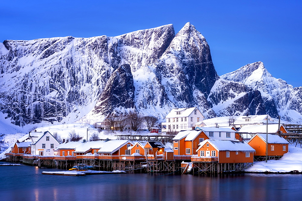 Rorbuer huts, rorbu, Sakrisoy, Moskenesoy, Lofoten Islands, Nordland, Norway, Europe