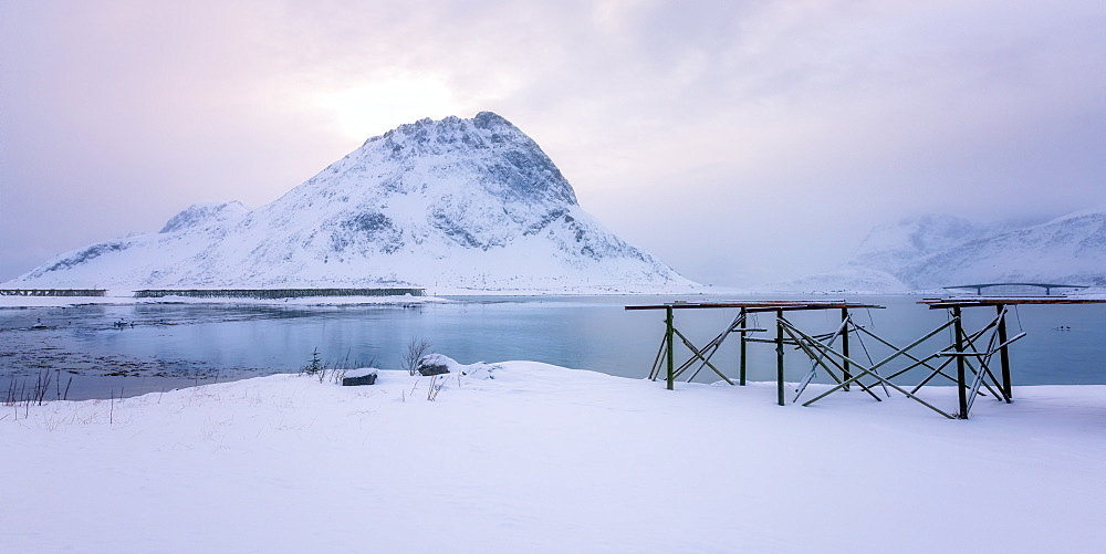 Lofoten in the snow, Lofoten Islands, Nordland, Arctic, Norway, Europe