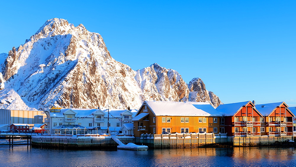 Svolvær on a sunny winter's day, Lofoten Islands, Nordland, Norway, Europe - 1216-428