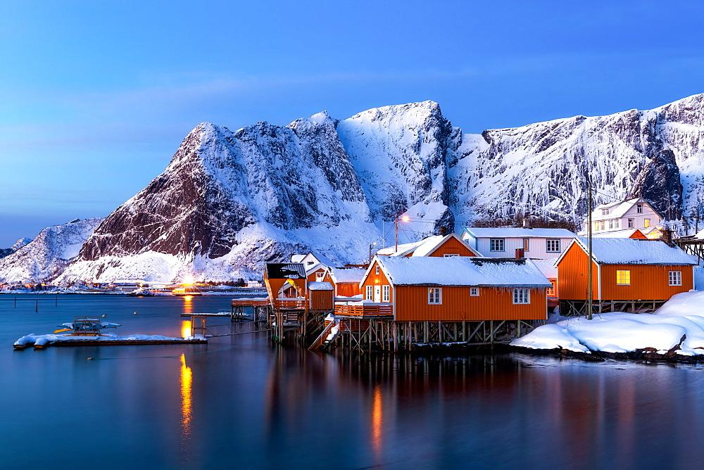 Rorbuer huts, rorbu, Sakrisoy, Moskenesoya, Lofoten islands, Nordland, Arctic, Norway, Europe