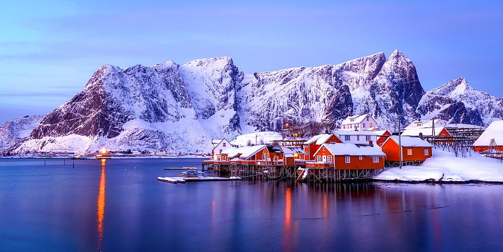 Rorbuer huts, rorbu, Sakrisoy, Moskenesoya, Lofoten islands, Nordland, Arctic, Norway, Europe - 1216-431