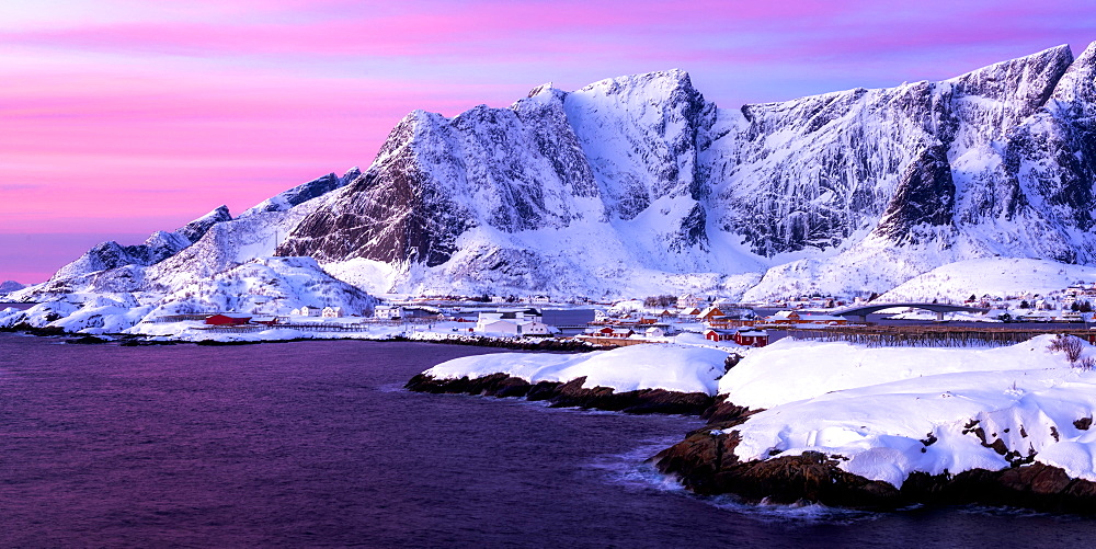 Sunrise at Sakrisoy, Lofoten, Nordland, Arctic, Norway, Europe
