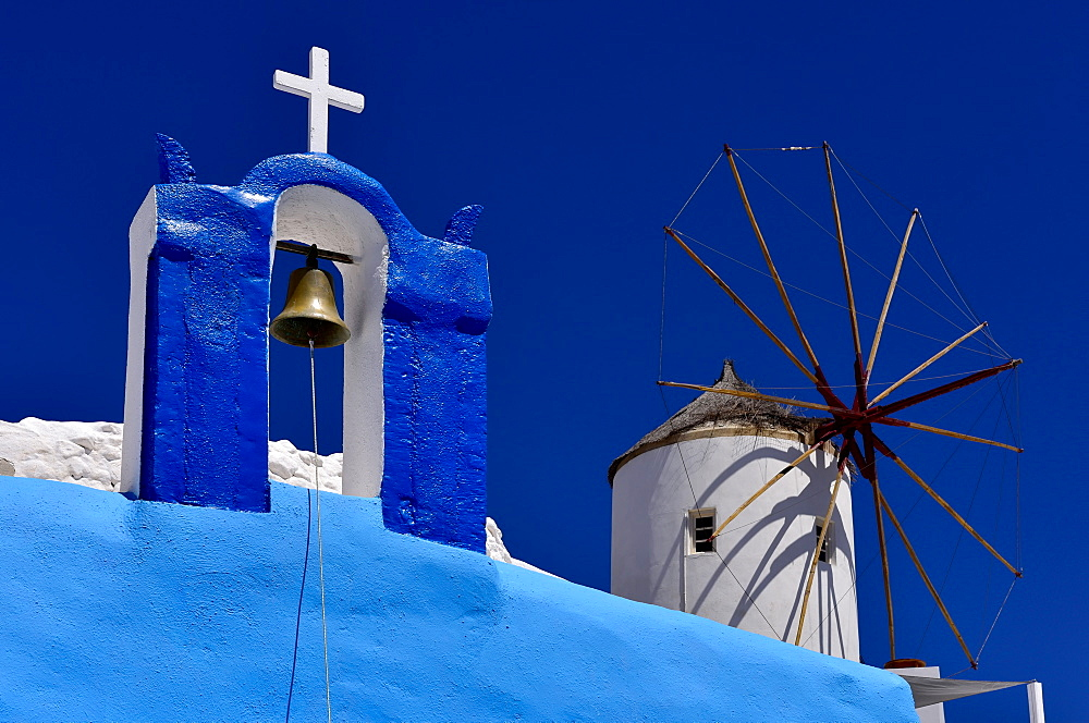 Oia Church and Windmill, Oia, Santorini, Cyclades, Aegean Islands, Greek Islands, Greece, Europe