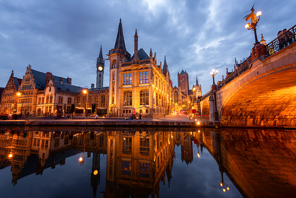 Old Post Office and St. Nicholas' Church from the side of Michielsbrug (St. Michael's bridge), Ghent, Flanders, Belgium, Europe - 1216-474