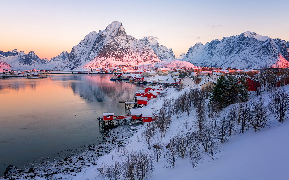 Reine fishing village in winter, Reinefjord, Moskenesoya, Lofoten Islands, Arctic, Norway, Europe