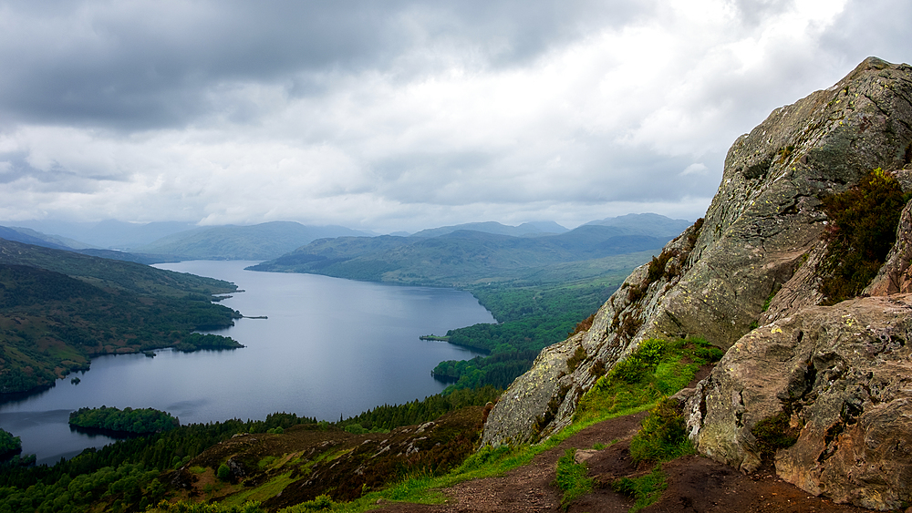 Loch Katrine from the Summit of Ben A'an, Highlands, Scotland, United Kingdom, Europe - 1216-495