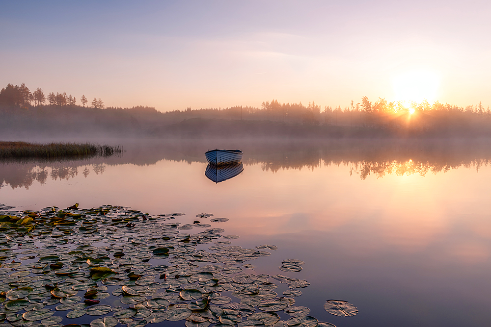 Lone boat at sunrise, Loch Rusky, Highlands, Scotland, United Kingdom, Europe