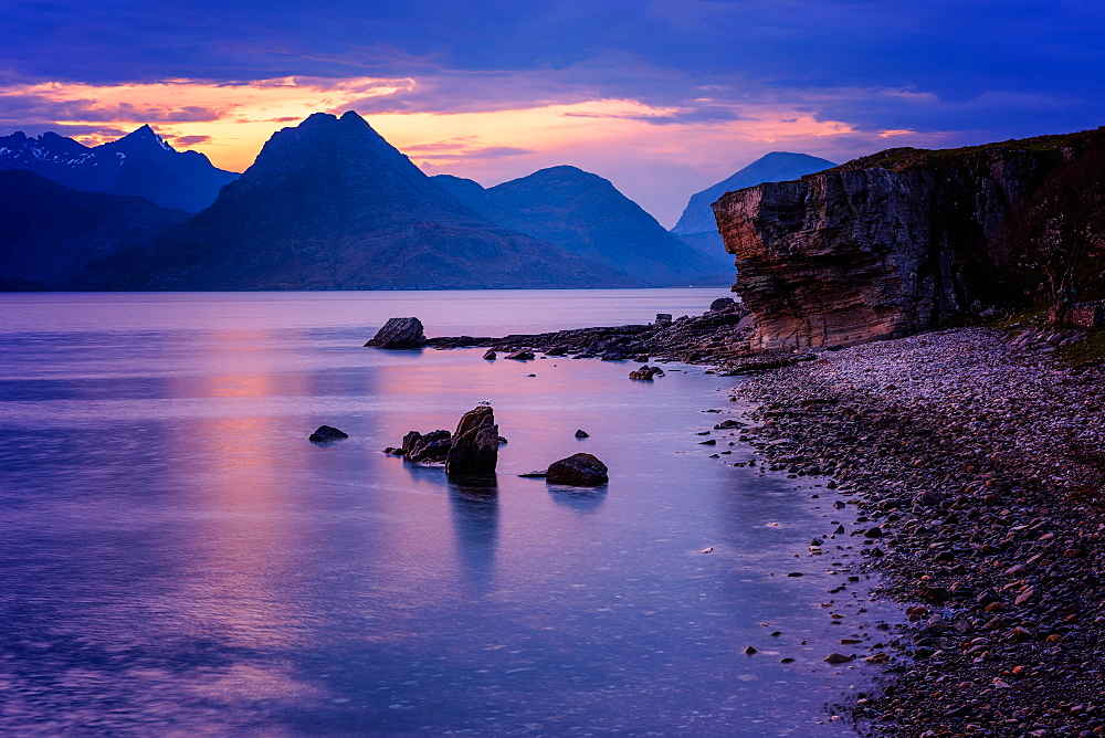 Sunset at Elgol, Isle of Skye, Inner Hebrides, Scotland, United Kingdom, Europe