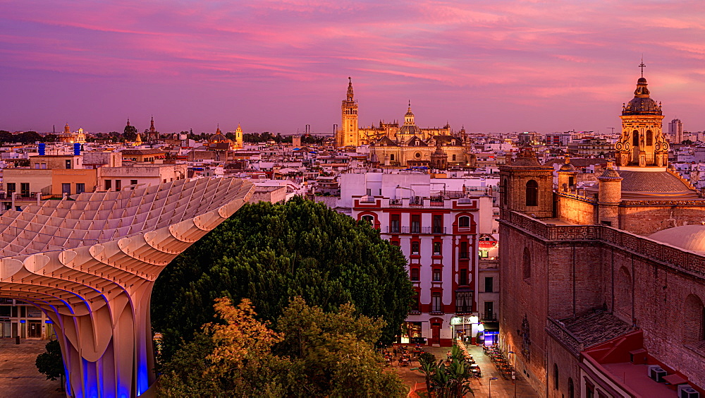 Sunset over the city of Seville Andalusia, Spain, Europe - 1216-520
