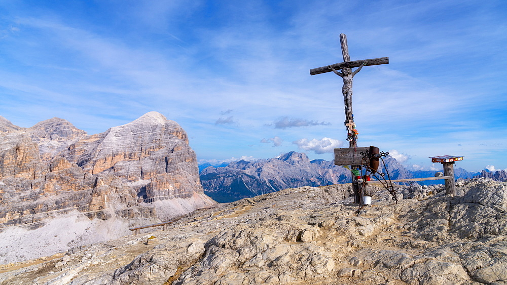 Summit Cross of Monte Lagazuoi, Dolomites, Italy, Europe