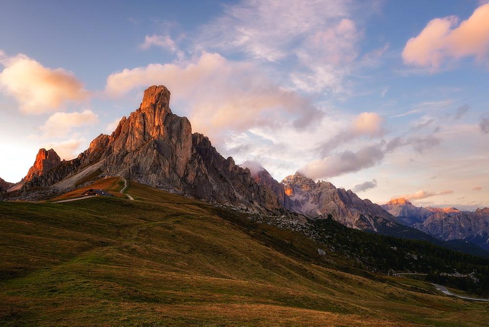 Passo Giau at sunset, Belluno, Dolomites, Italy, Europe