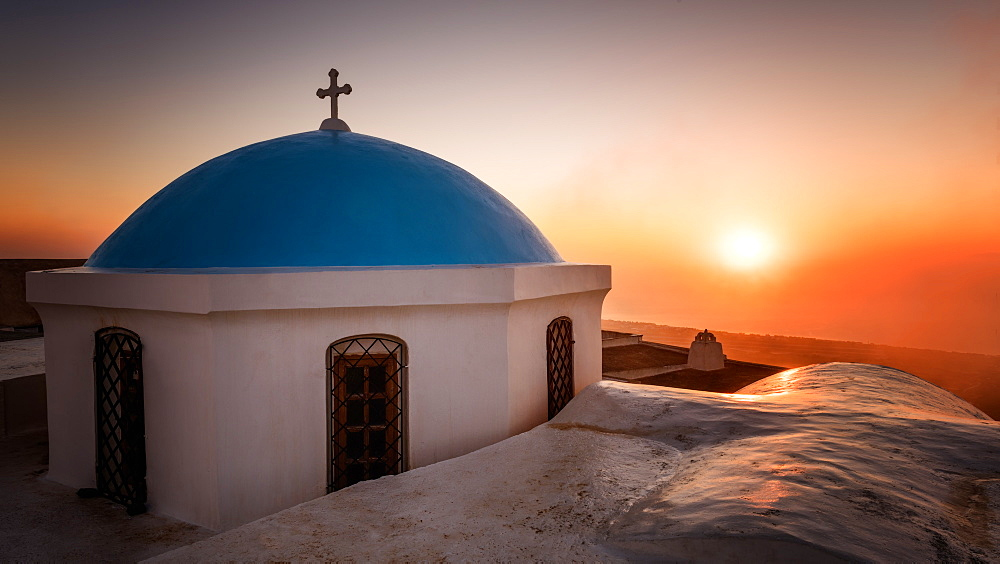 Church at sunrise, Pyrgos Village, Santorini, Cyclades, Greek Islands, Greece, Europe - 1216-55