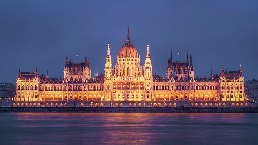 Hungarian Parliament at twilight, Budapest, Hungary, Europe