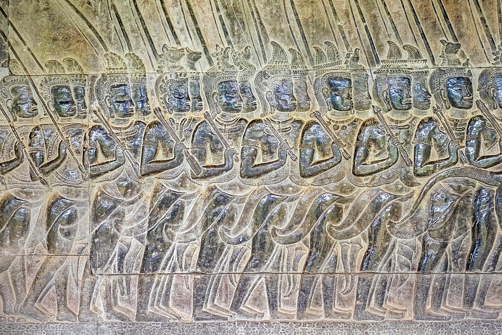 Stone carvings at Angkor Wat, UNESCO World Heritage Site, Siem Reap Province, Cambodia, Indochina, Southeast Asia, Asia