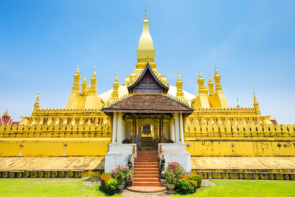 Pha That Luang golden stupa, Vientiane, Laos, Indochina, Southeast Asia, Asia