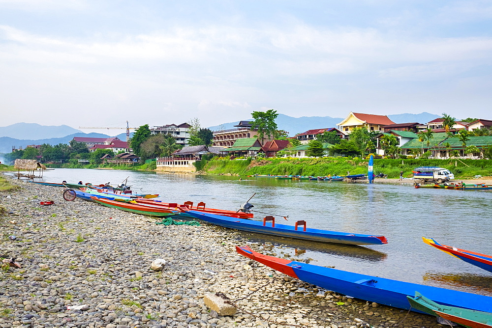 Nam Song River in Vang Vieng, Vientiane Province, Laos, Indochina, Southeast Asia, Asia