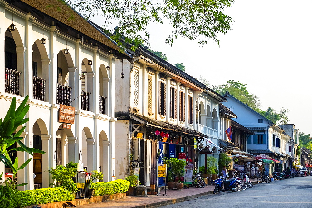 French colonial style buildings on Sakkaline Road in Luang Prabang historic district, Louangphabang Province, Laos, Indochina, Southeast Asia, Asia