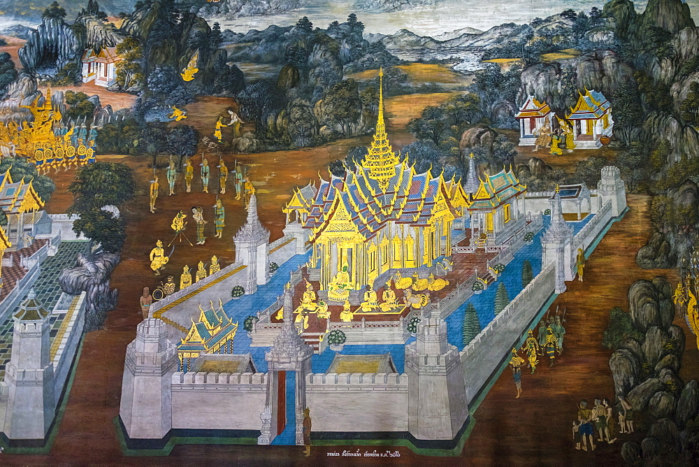 Murals depicting scenes from the Ramakien, Temple of the Emerald Buddha (Wat Phra Kaew), Grand Palace complex, Bangkok, Thailand, Southeast Asia, Asia