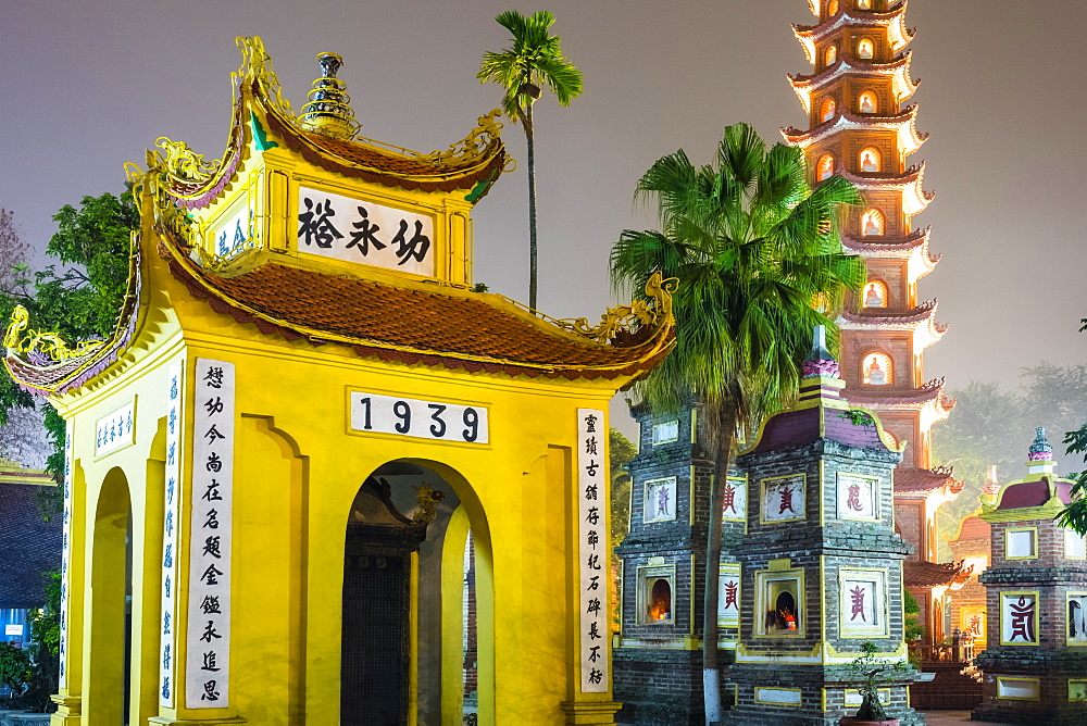 Tran Quoc Pagoda (Chua Tran Quoc) at night, Tay Ho District, Hanoi, Vietnam