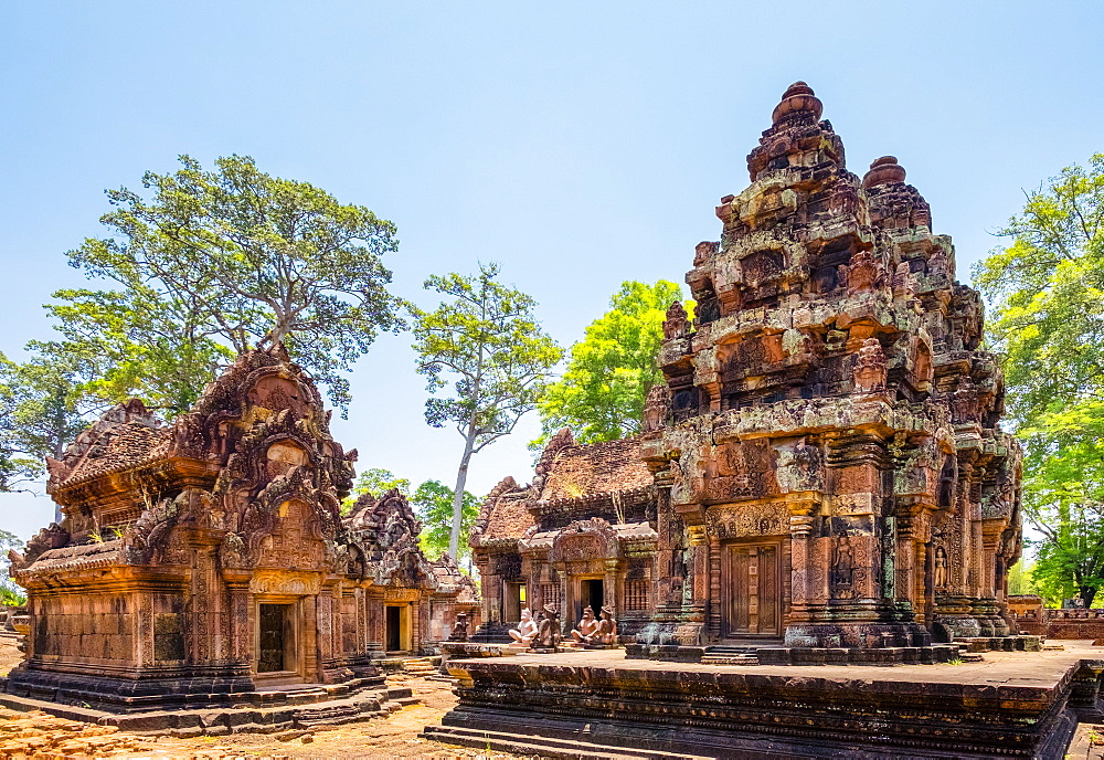 Prasat Banteay Srei temple ruins, UNESCO World Heritage Site, Angkor, Siem Reap Province, Cambodia, Indochina, Southeast Asia, Asia