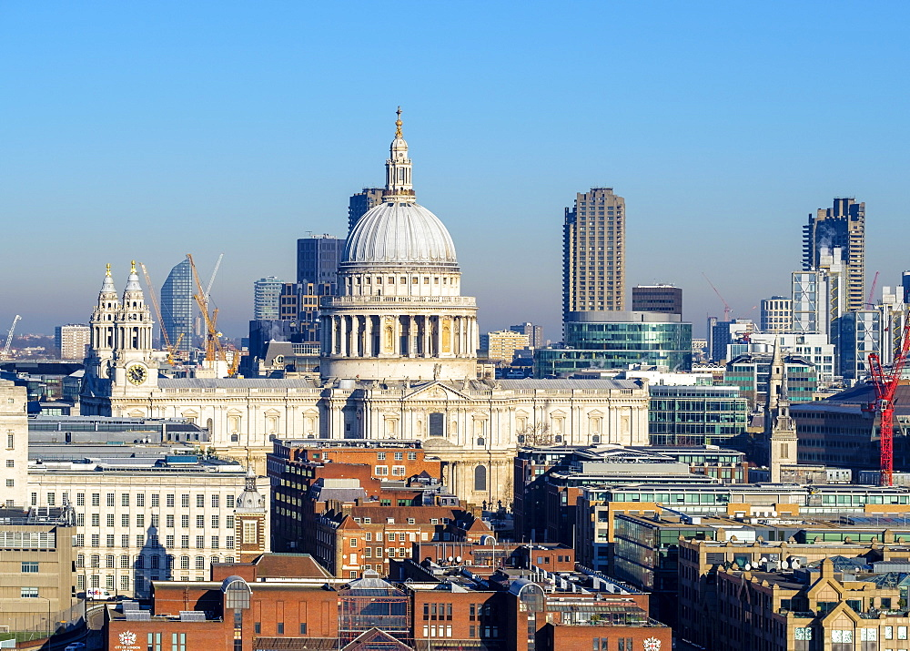 United Kingdom, England, London. St Paul's Cathedral and buildings in central London.