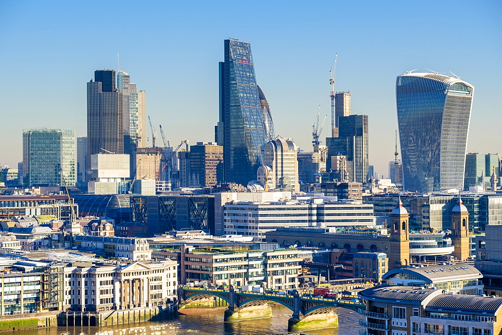 United Kingdom, England, London. London Skyline, modern buildings in Central London.