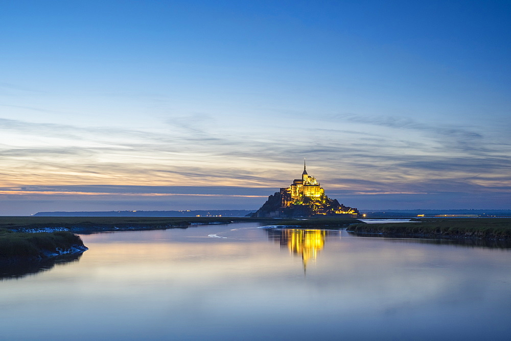 Le Mont-Saint-Michel at sunset, UNESCO World Heritage Site, Manche Department, Normandy, France, Europe